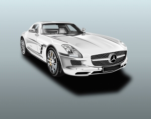 Mercedes SLS AMG İllustrasyon Otomobil Araçlar Kanvas Tablo