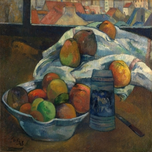 Meyve Kasesi Bowl Of Fruit And Tankard-1890 Paul Gauguin Reproduksiyon Kanvas Tablo