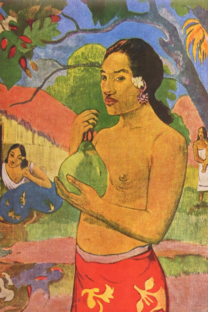Meyve Tutan Kadın Woman Holding A Fruit-1893 Paul Gauguin Reproduksiyon Kanvas Tablo