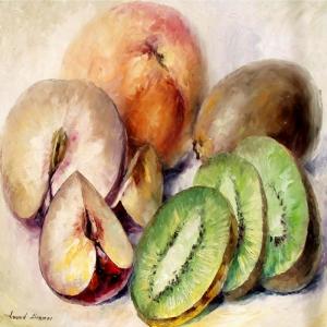 Meyveler ve Sebzeler 7, Kivi, Elma, Dekoratif Kanvas Tablo