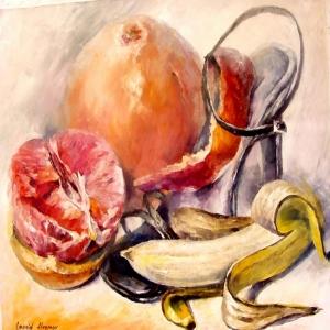 Meyveler ve Sebzeler 8, Portakal, Muz Dekoratif Kanvas Tablo