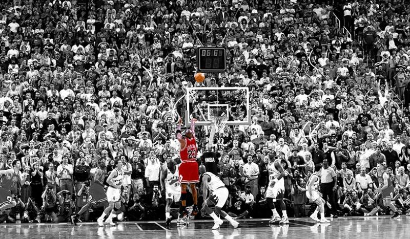 Michael Jordan Son Saniye Atış Kanvas Tablo