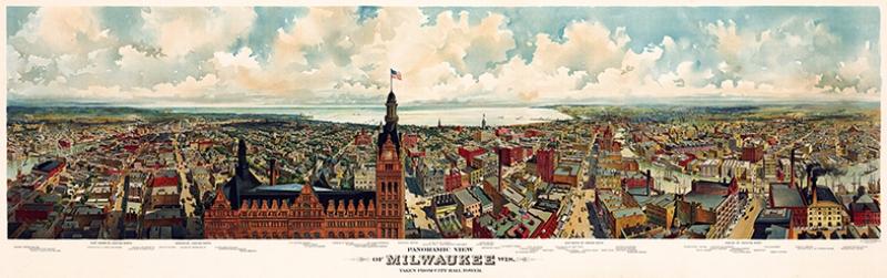 Milwaukee Panaroma Panaromik Manzara Çizim Eski Kanvas Tablo