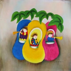 Minik Renkli Ağaçlar, Çocuk Dünyası Dekoratif Kanvas Tablo