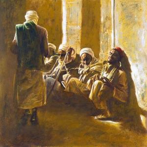 Misir Kahire Isciler Dinleniyor Yagli Boya Sanat Kanvas Tablo