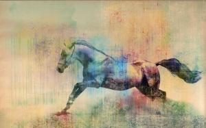 Modern Sanat ve At  Kompozisyon Hayvanlar Kanvas Tablo