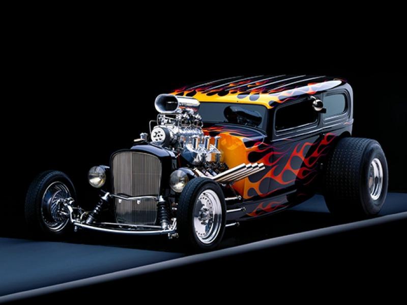 Modifiyeli Klasik Otomobil Alev Kanvas Tablo