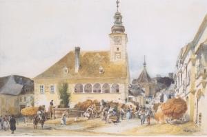 Modling'de Belediye Binası, The Town Hall in Mödling-1842, Rudolf Von Alt, Klasik Sanat Kanvas Tablo
