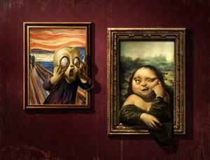 Mona Lisa ve Van Gogh Komik Resim Popüler Kültür Kanvas Tablo