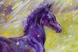 Mor At Yağlı Boya Sanat Kanvas Tablo
