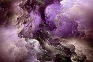 Mor Bulutlar Abstract Kanvas Tablo