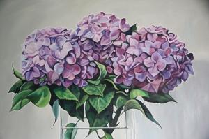 Mor Çiçekler Yağlı Boya Sanat Kanvas Tablo