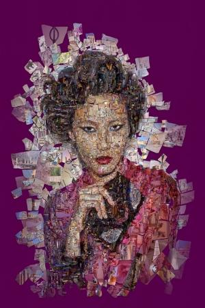 Mor Çinli Kadın Mozaik İllustrasyon Kanvas Tablo