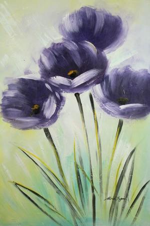 Mor Renkli Çiçekler 1 Dekoratif Yağlı Boya Kanvas Tablo