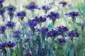 Mor Renkli Çiçekler 2 Peygamber Çiçekleri Yağlı Boya Kanvas Tablo