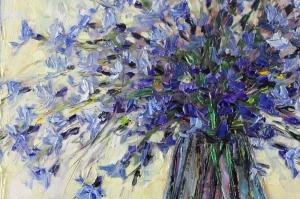 Mor Renkli Çiçekler 3 Peygamber Çiçekleri Yağlı Boya Kanvas Tablo