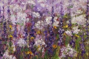 Mor Renkli Çiçekler 4 Peygamber Çiçekleri Yağlı Boya Kanvas Tablo