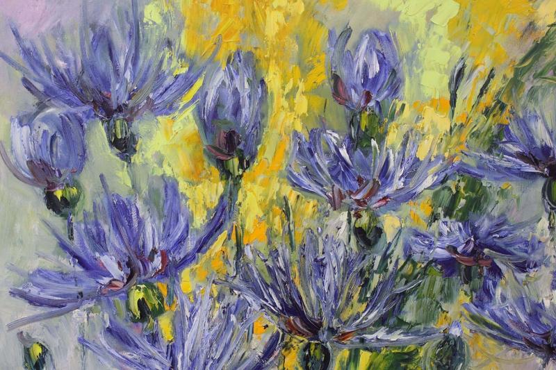 Mor Renkli Çiçekler 5 Peygamber Çiçekleri Yağlı Boya Kanvas Tablo