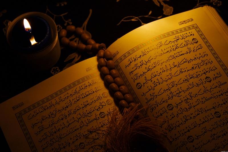 Mum Işığı ve Kuran-ı Kerim Dini & İnanç Kanvas Tablo