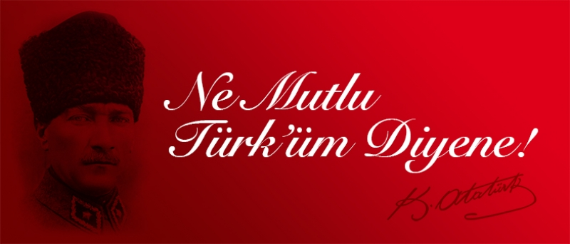 Mustafa Kemal Atatürk Ne Mutlu Türküm Diyene Poster-Kırmızı Kanvas Tablo