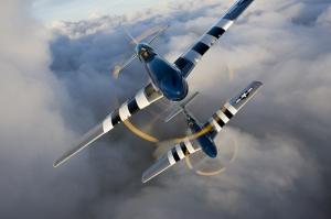 Mustang Uçak Gökyüzü Kanvas Tablo