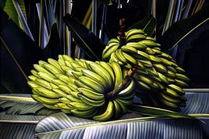 Muz Palmiye Yaprakları Dijital Fantastik Kanvas Tablo
