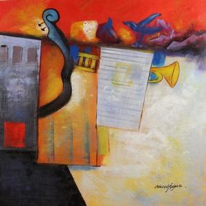 Müzik Aletleri 10, Trompet, Keman, Org Dekoratif Canvas Tablo