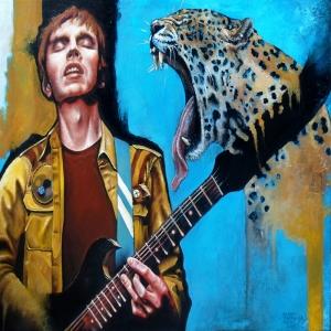 Müzik Aletleri 14, Gitar Çalan Rockçı Dekoratif Canvas Tablo