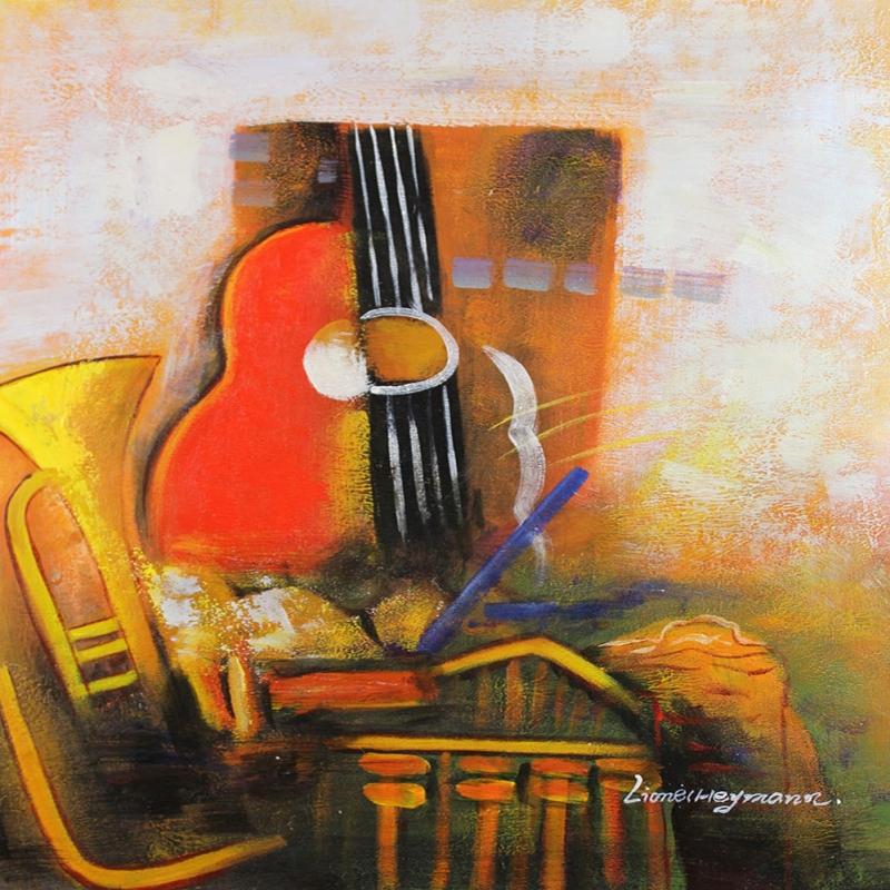 Müzik Aletleri 5, Gitar, Trompet Dekoratif Canvas Tablo