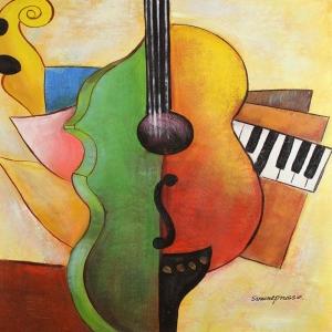 Müzik Aletleri 5, Keman, Org Dekoratif Canvas Tablo