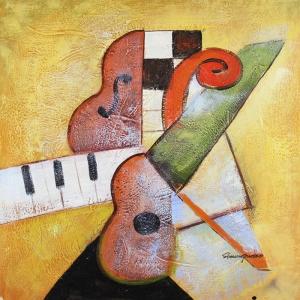 Müzik Aletleri 6, Müzikal Dekoratif Canvas Tablo