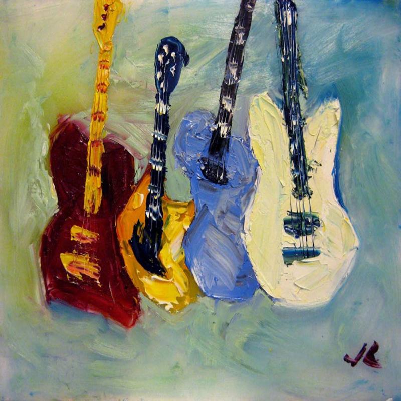 Müzik Aletleri 7, Müzikal Gitarlar Dekoratif Canvas Tablo