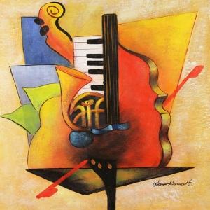 Müzik Aletleri 8, Trompet, Keman, Org Dekoratif Canvas Tablo