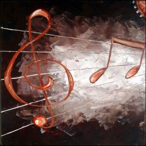 Müzik Enstrümanları, Notalar 4, Müzik Dekoratif Canvas Tablo