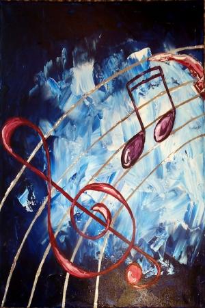 Müzik Enstrümanları, Notalar 5, Gitar Modern Sanat İç Mekan Dekoratif Kanvas Tablo