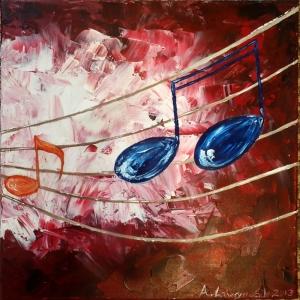 Müzik Enstrümanları, Notalar 6, Müzik, Dekoratif Canvas Tablo