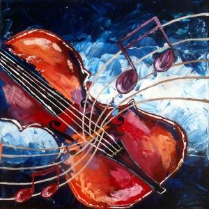 Müzik Enstrümanları, Notalar 2, Keman Dekoratif Canvas Tablo
