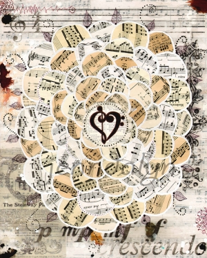 Müzik ve Kolaj Yağlı Boya Sanat Kanvas Tablo