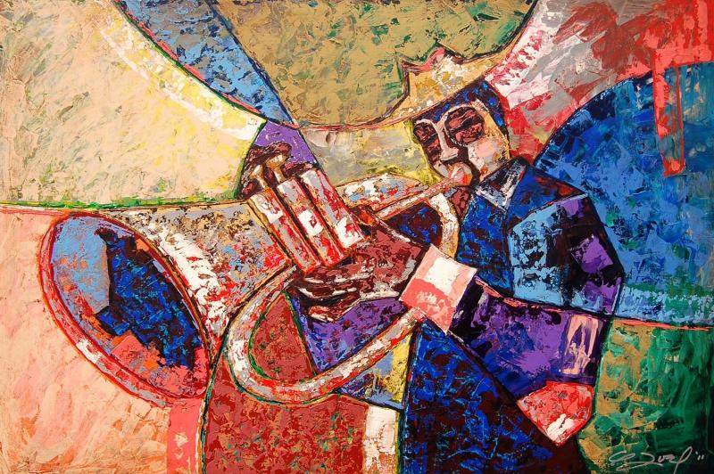 Müzisyen Trompet Kanvas Tablo