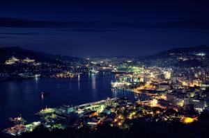 Nagasaki Şehri Akşam Manzarası Şehir Manzaraları Kanvas Tablo