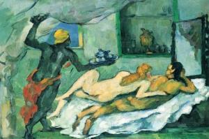 Napoli de Ögleden Sonra L Apres Midi a Naples, Paul Cezanne Reprodüksiyon Kanvas-tablo