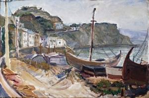 Napoli Sahil Kayiklar Yagli Boya Sanat Kanvas Tablo