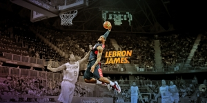 Nba Lebron James Dunk  Basketbol Player Kanvas Tablo