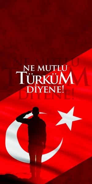 Ne Mutlu Türküm Diyene Türk Askeri Milliyetci Kanvas Tablo