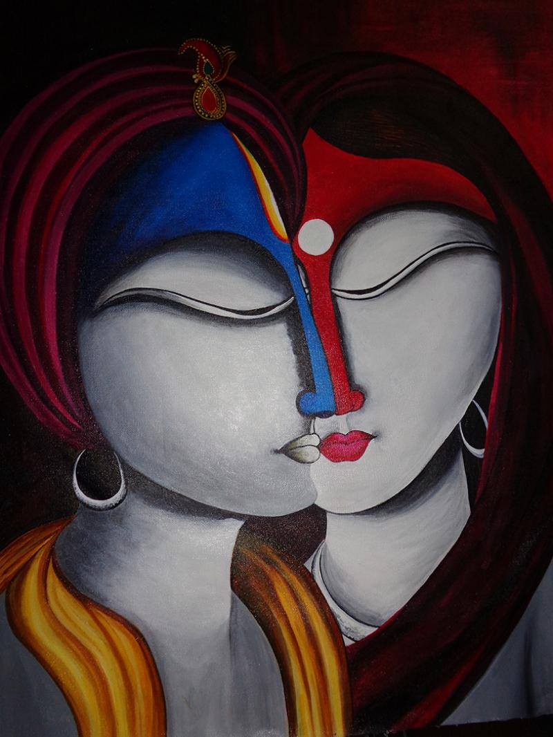 Neeraj Parswal Ruhsal Füzyon Yağlı Boya Sanat Kanvas Tablo