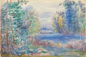 Nehir Peyzaj, Pierre August Renoir River Landscape-1890, Klasik Sanat Kanvas Tablo