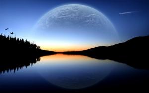 Nehir ve Ay Manzarası Kanvas Tablo