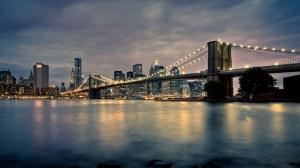New York Brooklyn Köprüsü Dünyaca Ünlü Şehirler Kanvas Tablo