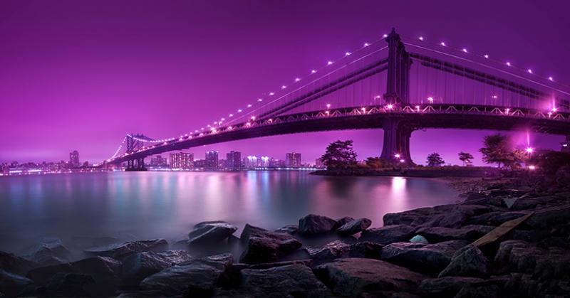 New York Gece Manzarası Mor Dünyaca Ünlü Şehirler Kanvas Tablo