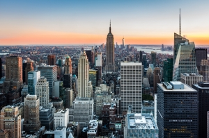 New York Gökdelenler Gün Batımı Dünyaca Ünlü Şehirler Kanvas Tablo